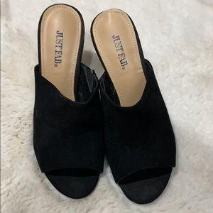 Black feaux suede mule style heels